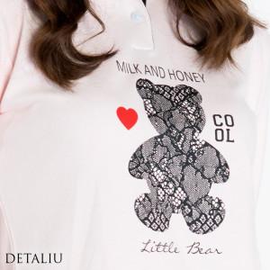 Pijamale Dama Maneca Lunga, Model Cool Little Bear, Brand Italian Fashion Design, Material Bumbac 100% Interlock, Culoare Roz/Negru, Pijamale Dama Calitate 100%
