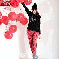 Pijamale Dama Maneca Lunga, Model Fan Glam De Toi..., Brand Italian Fashion Design, Material Bumbac 100% Interlock, Culoare Alb/Rosu, Pijamale Dama Calitate 100%