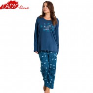 Pijamale Dama Marimi Mari, Model Nina Make Beautyful Things, Producator Vienetta, Bumbac 100%, Culoare Albastru, Pijamale Dama XXXL