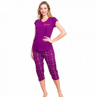 Pijamale Dama Vienetta din Bumbac cu Pantalon 3/4 Model 'Grace'