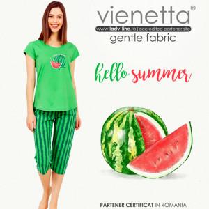 Pijamale Dama Vienetta din Bumbac cu Pantalon 3/4 Model 'Hello Summer' Green
