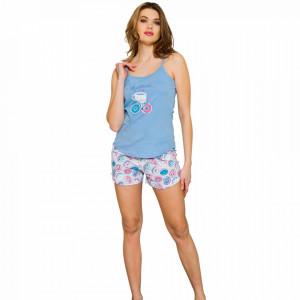 Pijamale Dama Vienetta, 'Let's Go for a Midle' Culoare Albastru