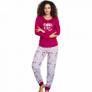 Pijamale Dama Vienetta, Model 'Cool Cat' Burgundy