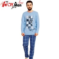 Pijamale Vienetta Secret, Bumbac 100%, 'Chess Fair Game' Blue