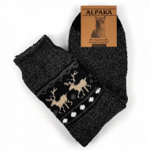 Sosete Calduroase din Lana de Oaie Naturala Alpaka 'Winter Tradition' Dark Gray