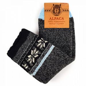 Sosete Calduroase din Lana Naturala de Alpaca Model 'Ornaments' Grigio Blu