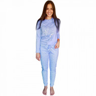 Pijamale Dama Bumbac Natural, Senso, 'Love Much Live Well' Blue