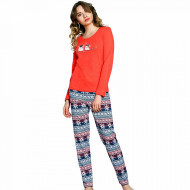 Pijama Dama Vienetta, Bumbac Interlok, 'You Make Me Happy' Red