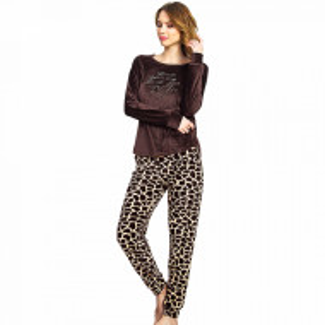 Pijama Dama Soft Velur, Vienetta, 'Wild Life' Brown