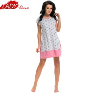 Camasa Dama Cu Maneca Scurta, Material Bumbac 100% Bumbac Prime Quality, Model 'The World Of Hearts', Brand DN NightWear, Culoare Roz, Pijamale Polonia