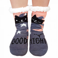 Ciorapi Imblaniti si Caldurosi Lady-Line Model 'Good Night Kitty' Dark Gray