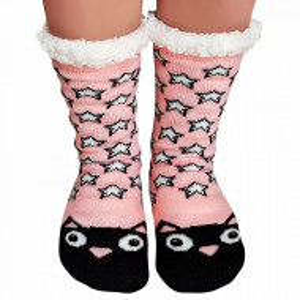 Ciorapi Imblaniti si Caldurosi Lady-Line Model 'Kitty Stars' Pink