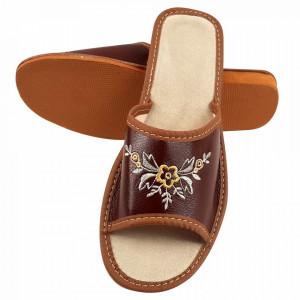 Papuci de Casa Dama din Piele, Sezon Vara, Culoare Maro, Model 'Mucatra Beauty'