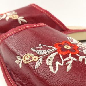 Papuci de Casa Dama, Material Piele, Culoare Visiniu, Model 'Akna Rogue Complete'