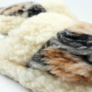 Papuci de Casa din Lana de Oaie Culoare Marmorat Model 'Zamolxis'