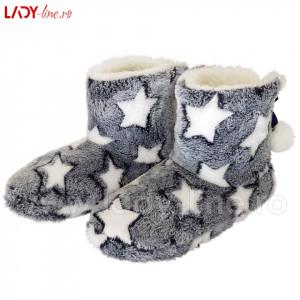 Papuci de Casa tip Cizmulite, 'Fluffy Stars'