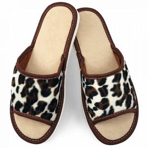 Papuci de Casa Vara Culoare Alb Model Animal Print 'Leopard'