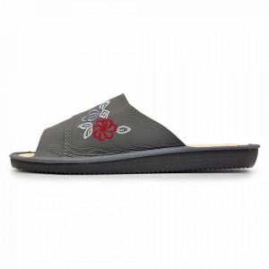Papuci de Casa Vara din Piele cu Talpa Groasa Culoare Gri Model 'Agastya'