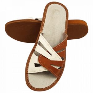 Papuci de Casa Vara din Piele Culoare Crem/Maro Model 'Imperial Feet'