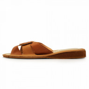 Papuci de Casa Vara din Piele Culoare Maro Crem Model 'Casia'