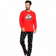 Pijama Barbati Bumbac 100% Gazzaz by Vienetta 'Run Incrase Your Speed' Red
