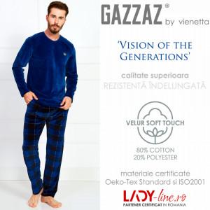 Pijama Barbati Velur, Gazzaz by Vienetta, 'Vision of the Generations' Blue