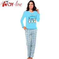 Pijama Dama Bumbac Interlock, 'Love Winter' Blue, Fawn