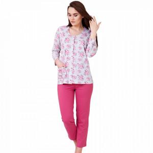Pijama Dama Cu Nasturi din Bumbac, M-Max, 'Beauty Of Quartz'