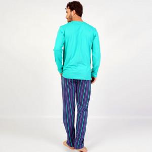 Pijamale Barbati Confortabile din Bumbac Gazzaz by Vienetta Model 'Infinity' Green