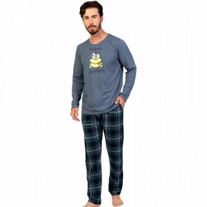 Pijamale Barbati Confortabile din Bumbac Gazzaz by Vienetta Model 'Nobody is Perfect' Gray
