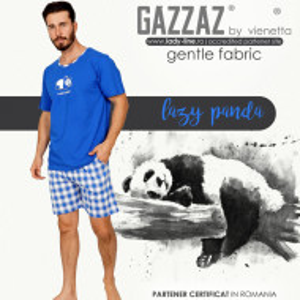 Pijamale Barbati Gazzaz by Vienetta, Bumbac 100%, Model 'Lazy Panda'