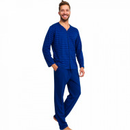 Pijamale Barbati Marimi Mari din Bumbac Gazzaz by Vienetta 'Authentic Elite' Blue