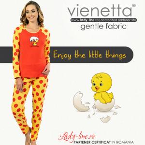 Pijamale Confortabile DamaVienetta Model 'Enjoy the Little Things' Red