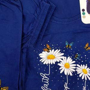 Pijamale Confortabile din Bumbac Marimi Mari Vienetta Model 'Faith Hope Love' Blue