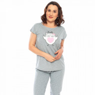 Pijamale Confortabile Marimi Mari Vienetta Model 'Smile Heart' Gri Melange
