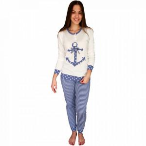 Pijamale Dama Bumbac, Brand Charachter, 'White Marinero' Blue
