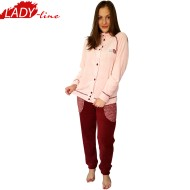 Pijamale Dama Calduroase Maneca Lunga, Model Sempre Milk & Honey, Brand Italian Fashion Design, Material Coral Fleece 200GSM, Culoare Roz/Visiniu, Pijamale Calduroase Dama Maneca si Pantalon Lung