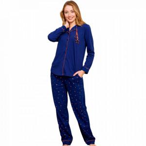 Pijamale Dama cu Nasturi din Bumbac Vienetta Model 'Monlight Stars' Blue