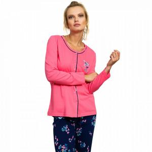 Pijamale Dama cu Nasturi din Bumbac Vienetta Model 'No Rain No Flowers' Pink
