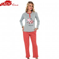 Pijamale Dama Iarna, Model Moooorning, Producator Fawn, Interlock Bumbac 100%, Culoare Gri/Roz, Pijamale Dama Maneca si Pantalon Lung