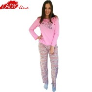 Pijamale Dama Maneca Lunga, Model Life Is Lovely, Producator Benter Fashion Wear, Bumbac 100%, Culoare Roz
