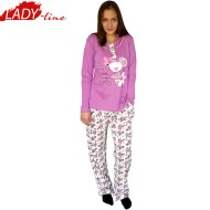 Pijamale Dama Maneca Lunga, Model Little Mouse Girl, Producator Baki Collection, Bumbac 100%, Culoare Mov/Alb, Pijamale Dama Maneca si Pantalon Lung