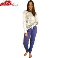 Pijamale Dama Maneca Lunga, Model Love Cats, Brand Italian Fashion Design, Material Bumbac 100% Interlock, Culoare Vernil Light/Mov, Pijamale Dama Calitate 100%