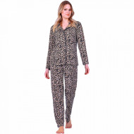 Pijamale Dama Maneca si Pantalon Lung Model 'Leopard Passion'