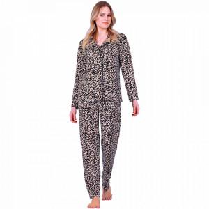 Pijamale Dama Maneca si Pantalon Lung Model 'Leopard Passion'