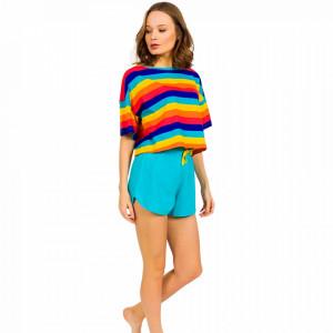 Pijamale Dama Manesca Scurta Pantalon Scurt Vienetta Model 'Rainbow of Happiness'