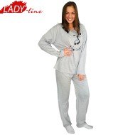 Pijamale Dama Marimi Mari, Model March Spring, Producator Dehai-T, Bumbac 100%, Culoare Gri, Pijamale Dama 2XL, 3XL, 4XL, 5XL, 6XL