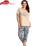 Pijamale Dama Marimi Mari, Model Nina Perfection, Producator Vienetta, Bumbac 100%, Culoare Crem, Pijamale Dama XXXL