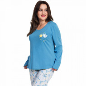 Pijamale Dama Marimi Mari Vienetta, Bumbac 100%, 'Beauty Love' Blue