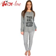 Pijamale Dama Snelly L'Originale, Bumbac 100%, 'This Girl Loves Sleep' Gray